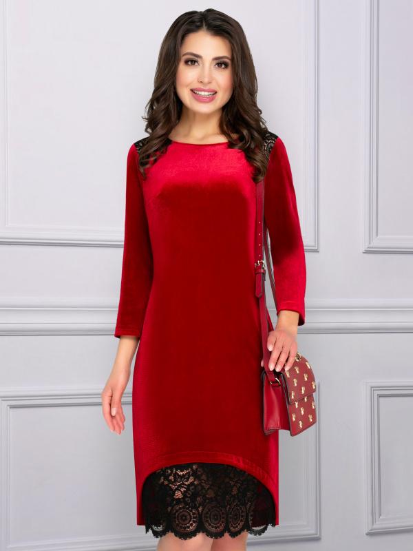 Платье Шикарная женщина (красный бархат)